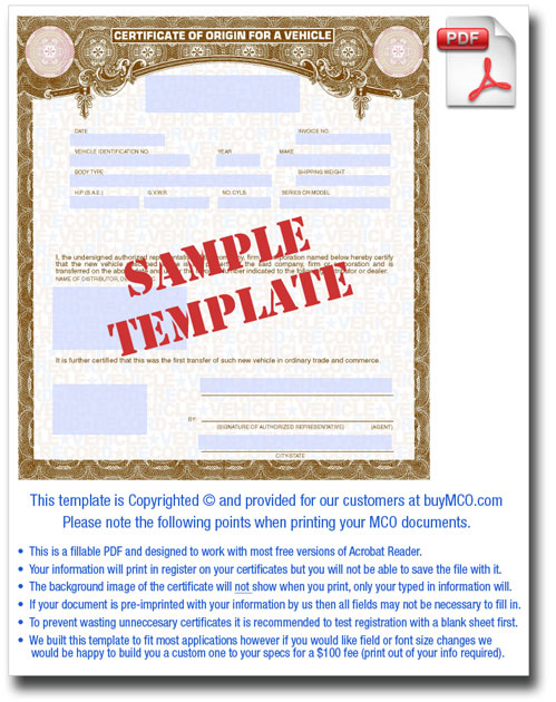 Sample MCO Template  Blank Certificate Of Origin