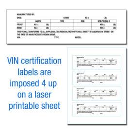 VIN Certification Labels